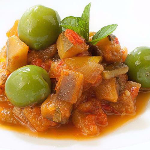 Caponata with olive of Castelvetrano