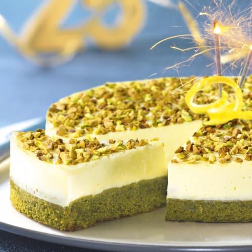 Tarta de queso con limón y té matcha