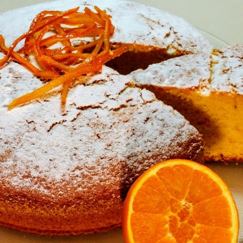 Soft cake with orange