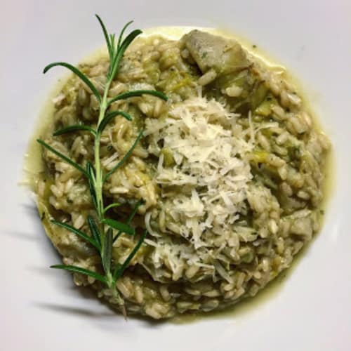 integrante risotto con alcachofas
