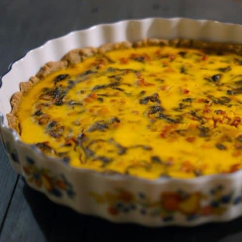 Quiche integrale con zucca, radicchio rosso e pancetta dolce
