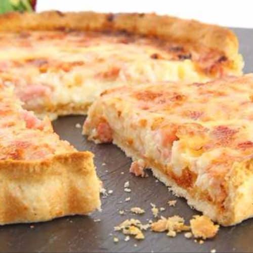 salada tarta de queso ricotta, el puerro y jamón