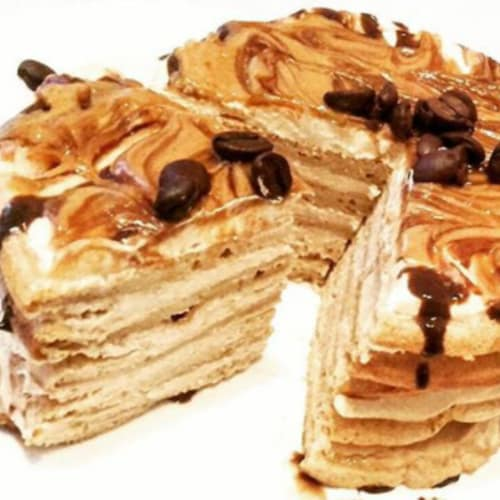 Turret of tiramisu pancakes
