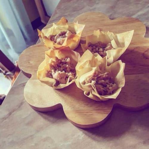Cestas con atún y queso de pasta blanda