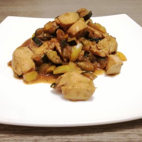 Pollo al curry con verdure