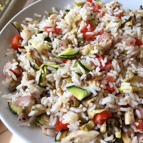 Light rice salad