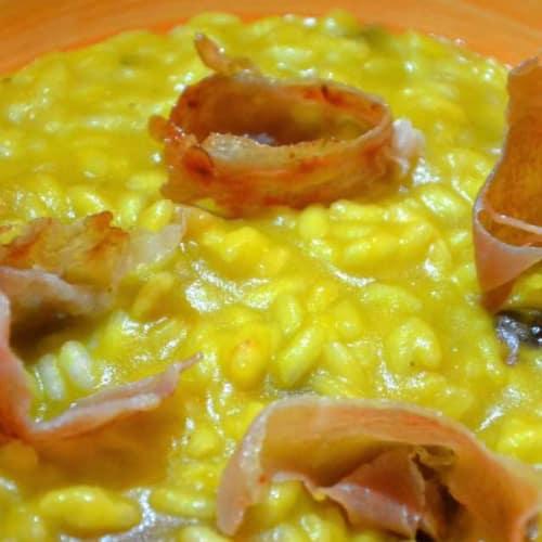 Risotto con zucca, prosciutto di Parma ed uvetta