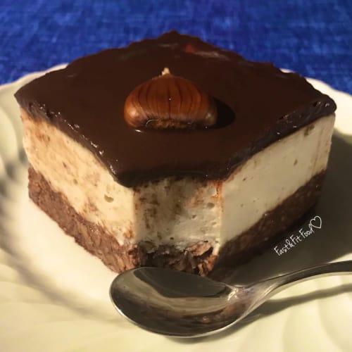 Pastel de queso vegana dobles de chocolate, castañas y ron