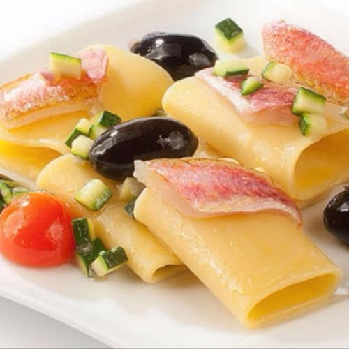 Paccheri with trills and olives Nocellara del Belice Dop