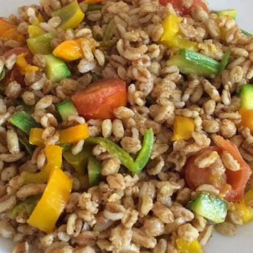 Farro con verdure al curry