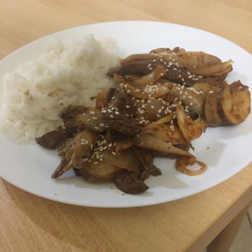 Padellata corazón de ternera con curry tailandés