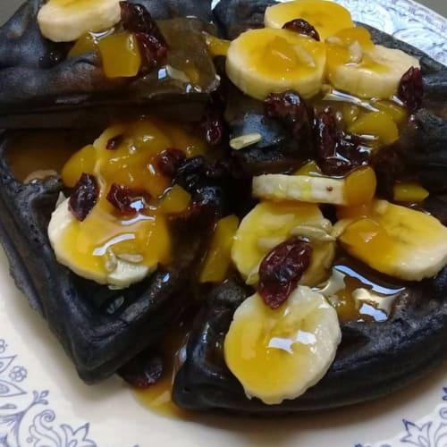 Waffles o Gofres de Harina de Maíz Morado