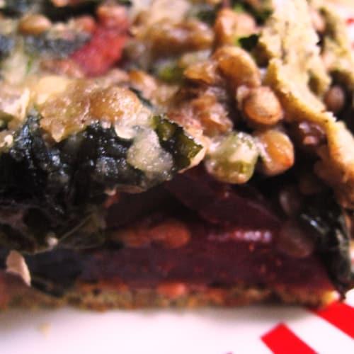 Torta salata cavolo nero rape rosse e lenticchie