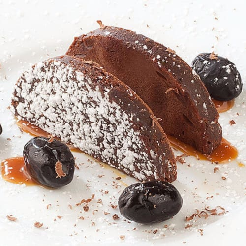 Brownies con olive nere e caramello salato