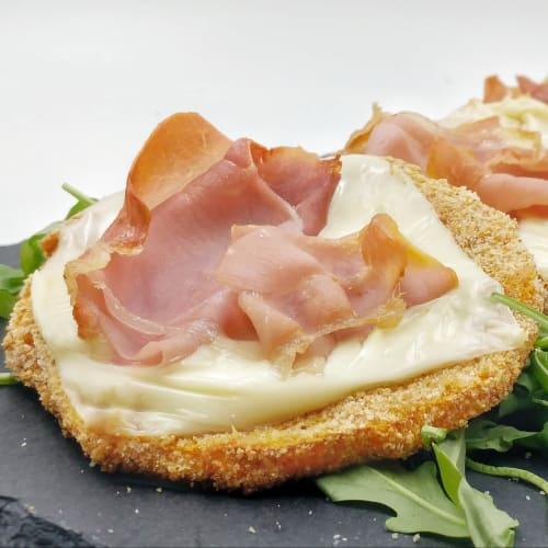 chuletas de calabaza con jamón crudo y queso