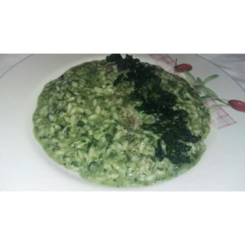 Arroz con espinacas y gorgonzola