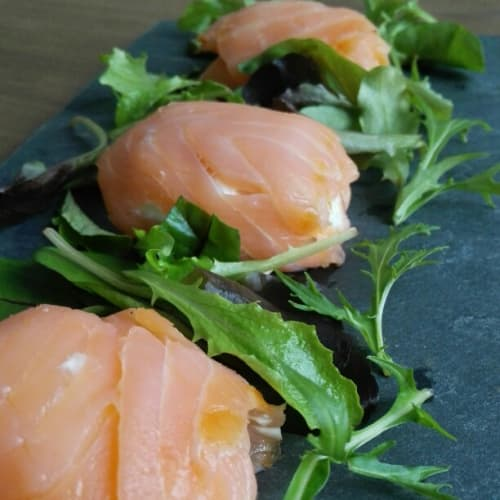 Saccottini of smoked salmon