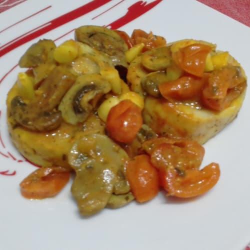Merluzzo Con Funghi E Pomodorini...!!!