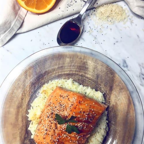 arroz basmati y naranja salmón
