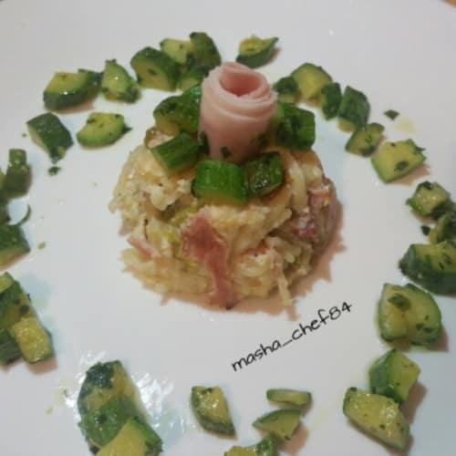 Sformatino di spaghetti e zucchine croccanti