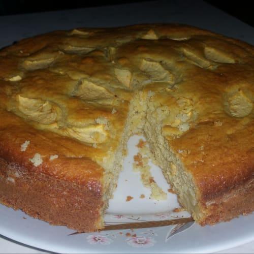 Pastel de queso y manzana