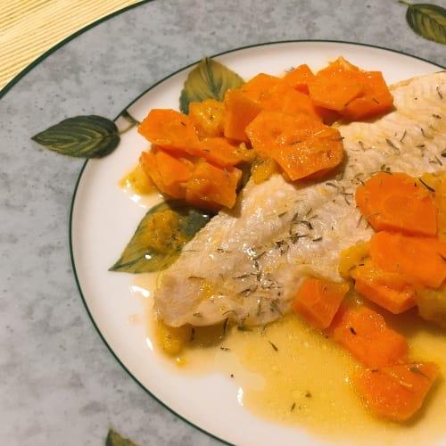 Sogliola all'arancia, con contorno di carote