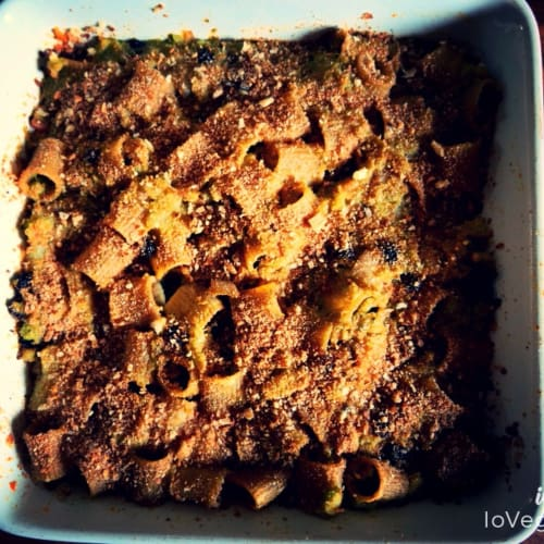 Pastas cocidas al horno con col verde