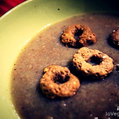 Crema de setas con los panecillos de cereales