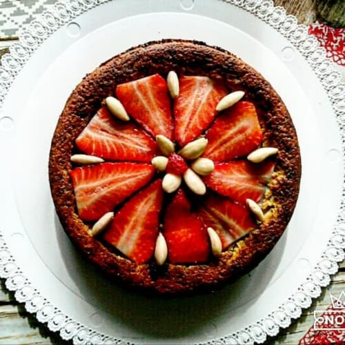 tarta de naranja suave, con verduras crema de canela.