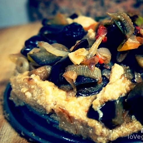 Amaranth flan with aubergine and cherry tomatoes