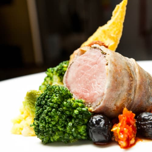 Larded pork fillet