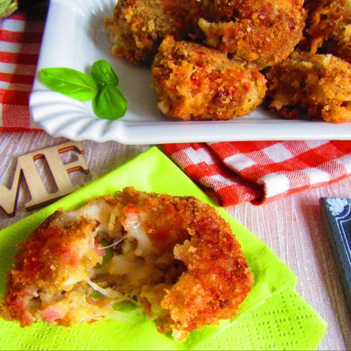 Albóndigas de berenjena con jamón y fontina