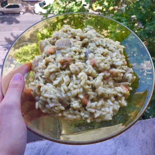 Risotto de alcachofa y camarones
