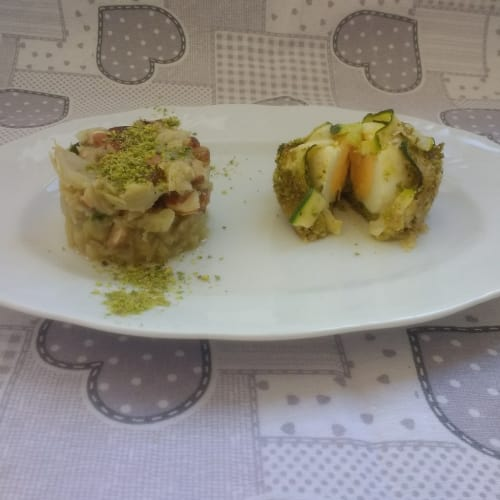 Boiled egg cake with zucchini and pistachio