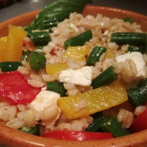 Barley salad with green beans and feta