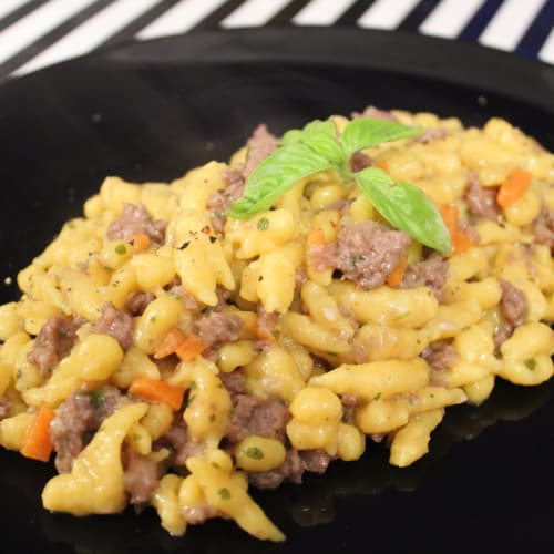 Pumpkin spatzle with white scottona ragout