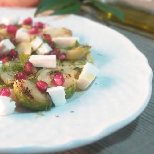 Sprouts with Greek feta and pomegranate