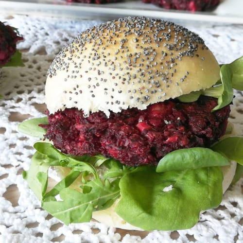 Red turnip and Greek feta burger