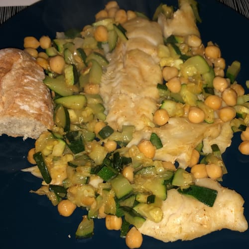 Cod with chickpeas.
