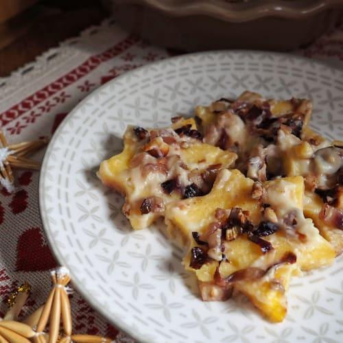 Estrellas de polenta con radicchio y nueces.