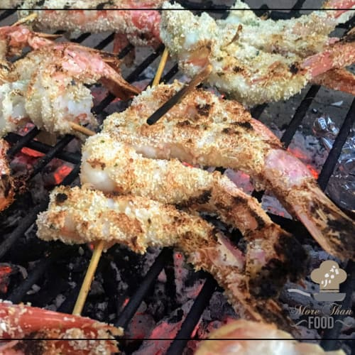 Bbq Series: Shrimp skewers au gratin