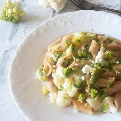Pasta risottata con dos coliflores.