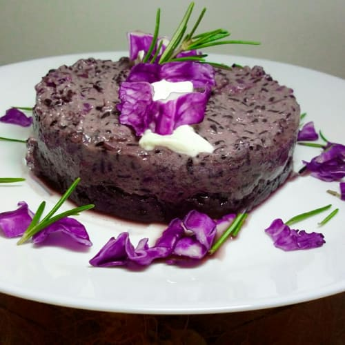 Artemide rice with purple cabbage cream