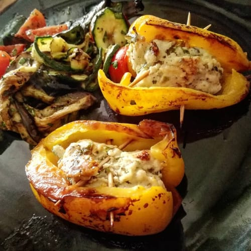 Stuffed peppers with minced chicken breast