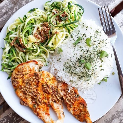Paprika chicken with mustard and basmati zoodles