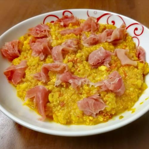 Armonie di cereali in crema di ricotta e peperoni