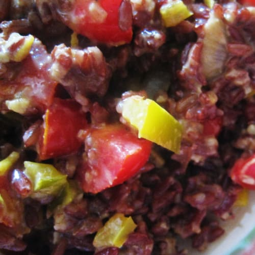 red rice with creamy peppers