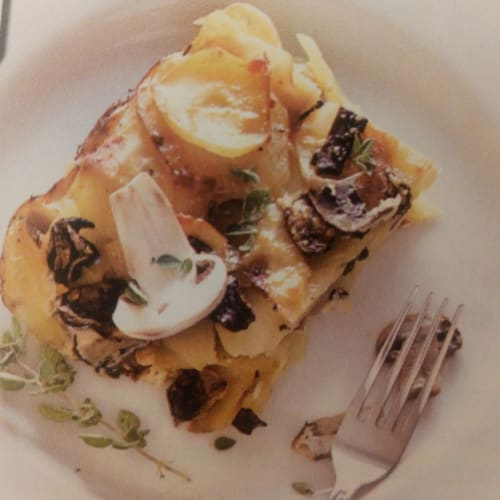 Potato and mushroom gratin.