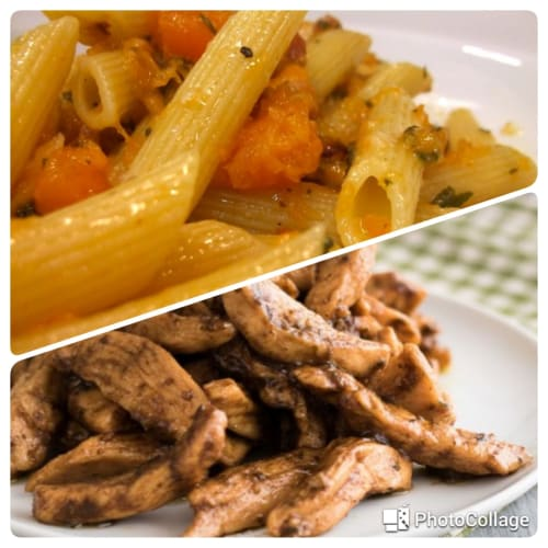 Pasta with pumpkin, strips of turkey with fennel