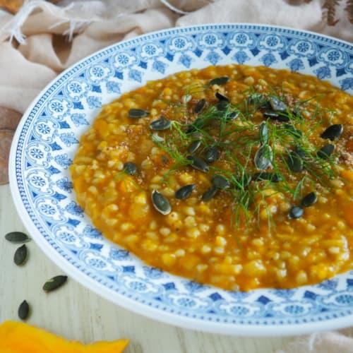 Sopa de trigo sarraceno y arroz con calabaza